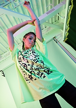 Neon Green Angel Graffiti Oversized Graphic Tee