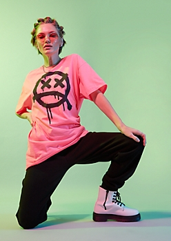 Neon Pink Frown Graffiti Oversized Graphic Tee