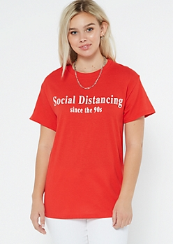 Red Social Distancing Since 90s Graphic Tee
