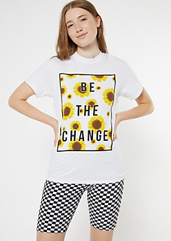 White Sunflower Be The Change Graphic Tee