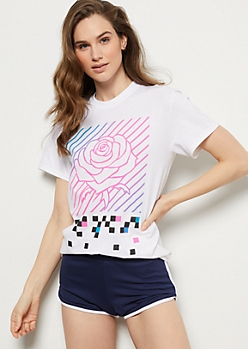 White Neon Striped Rose Graphic Tee