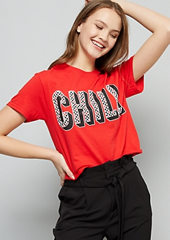 Red Checkered Print Chill Skimmer Graphic Tee