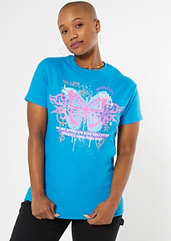 Blue Butterfly Good Vibes Graphic Tee