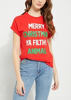 Merry Christmas Ya Filthy Animal Red Tee