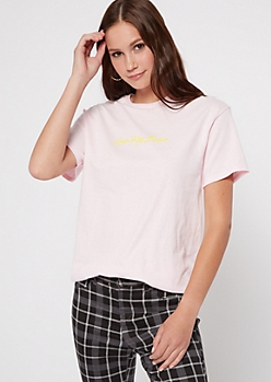 Pink Low Key Basic Graphic Tee