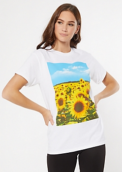 White Sunflower Field Graphic Tee