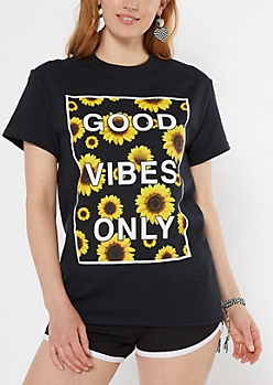 Good Vibes Only Sunflower Graphic Tee