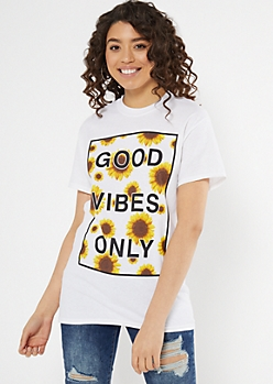 White Good Vibes Sunflower Graphic Tee