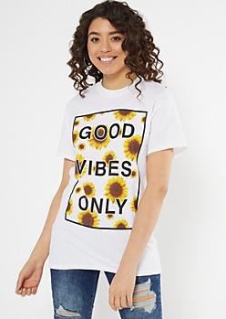 White Good Vibes Sunflower Graphic Tee