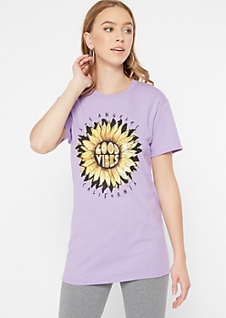 Lavender Sunflower Good Vibes Graphic Tee