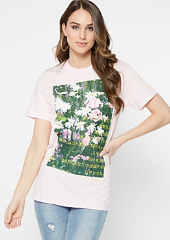 Pink Garden Kanji Short Sleeve Graphic Tee