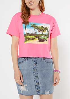 Neon Fuchsia Sunset Drive Short Graphic Tee