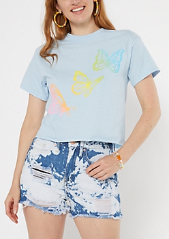 Blue Butterfly Short Graphic Tee