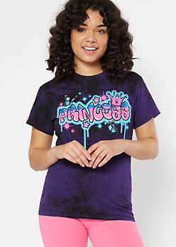 Purple Tie Dye Princess Graffiti Graphic Tee