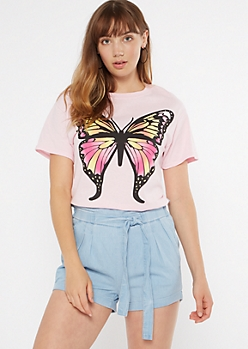 Pink Butterfly Graphic Tee