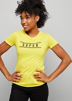 Yellow Checkered Print Super Graphic Tee