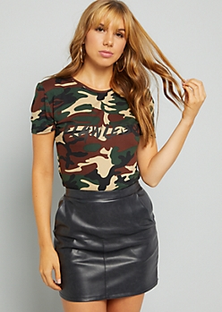 Camo Print Flawless Long Fitted Tee