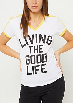 Good Life White Varsity Stripe Tee
