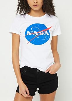 White Fitted NASA Logo Tee