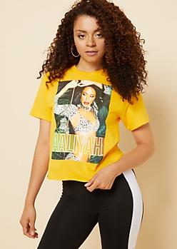 Yellow Animal Print Aaliyah Skimmer Tee