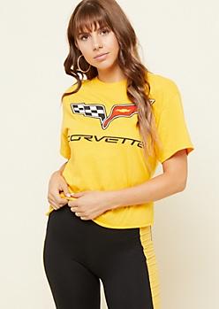 Yellow Corvette Logo Skimmer Tee