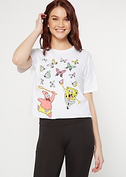 White SpongeBob Butterflies Graphic Tee