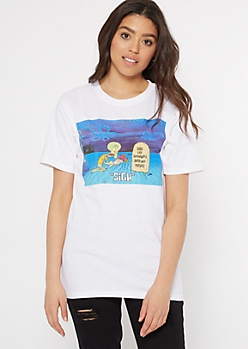 White Here Lies Squidwards Dreams Graphic Tee