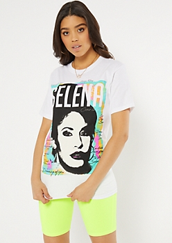 White Watercolor Selena Graphic Tee
