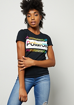 Black Rainbow Polaroid Fitted Graphic Tee