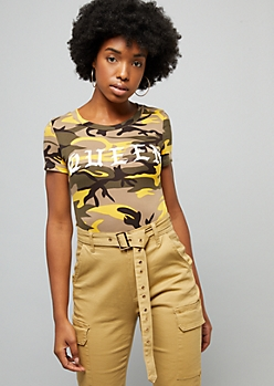 Yellow Camo Print Queen Fitted Tee