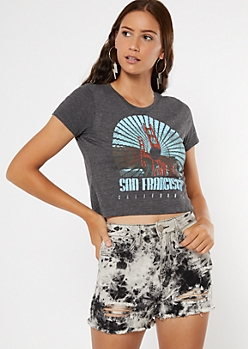 Gray San Francisco Print Baby Tee