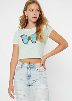 Mint Butterfly Print Baby Tee