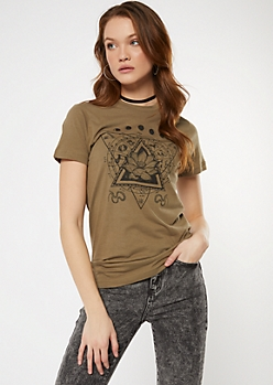 Brown Lotus Moon Phase Graphic Tee