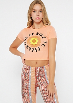 Orange Be Nice Flower Cropped Graphic Tee