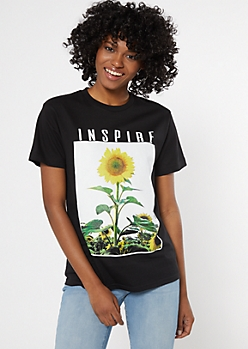 Black Sunflower Inspire Graphic Tee