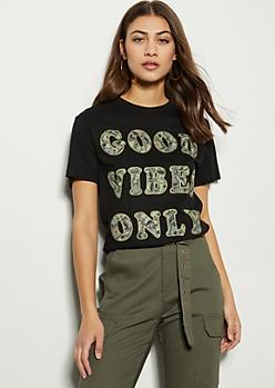 Black Good Vibes Glitter Money Graphic Tee