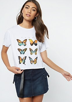 White Free Butterfly Graphic Tee