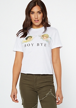 White Cherub Boy Bye Graphic Tee