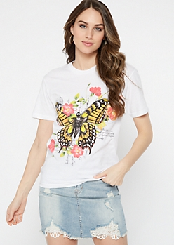 White Floral Butterfly Postcard Graphic Tee