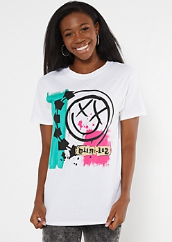 White Blink 182 Graphic Tee