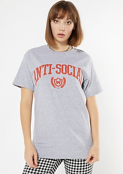 Gray Anti Social Collegiate Graphic Tee