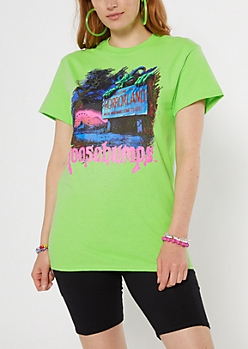 Neon Green Goosebumps Horrorland Graphic Tee