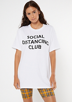 White Social Distancing Club Graphic Tee