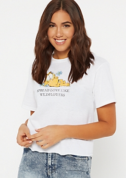 White Garfield Spread Love Graphic Tee