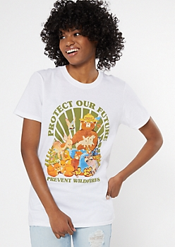 White Protect Our Future Smokey The Bear Graphic Tee