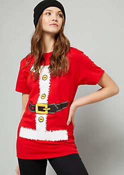 Red Santa Suit Short Sleeve Holiday Graphic Tee