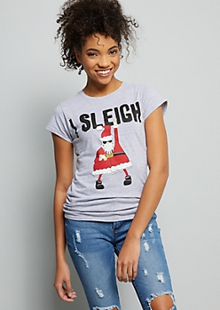 Heather Gray I Sleigh Holiday Graphic Tee