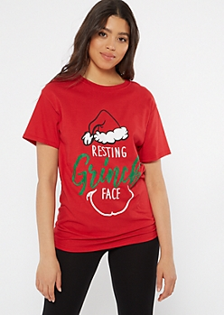 Red Resting Grinch Face Graphic Tee