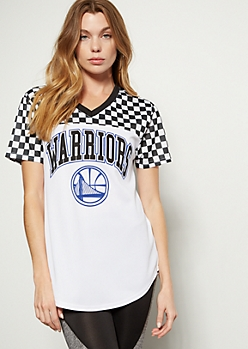 NBA Golden State Warriors Checkered Print Colorblock Jersey tee