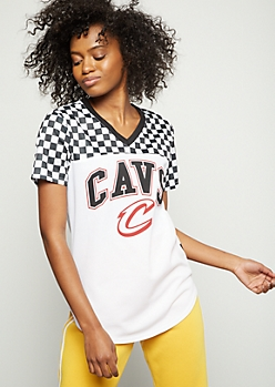 NBA Cleveland Cavaliers Checkered Print Colorblock Jersey Tee